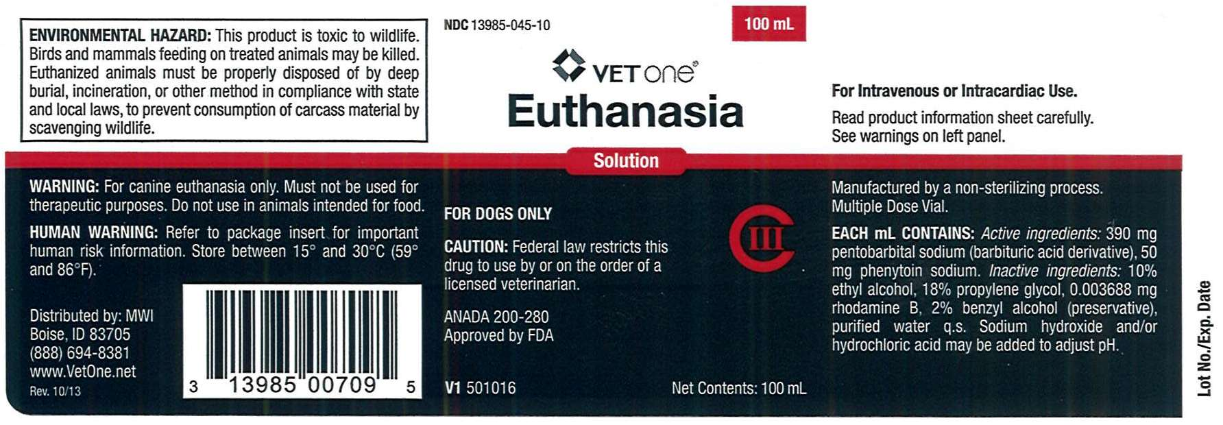 Euthanasia Solution Mwi Veterinary Package Insert