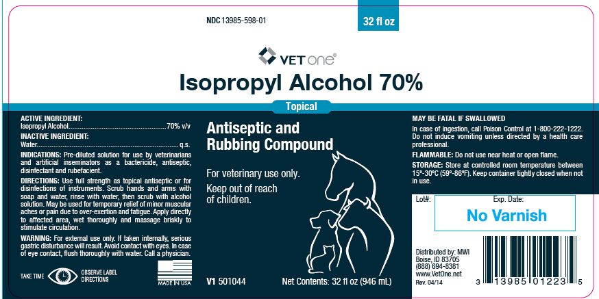 Isopropyl Alcohol 70% - MWI/Vet One: Veterinary Package Insert