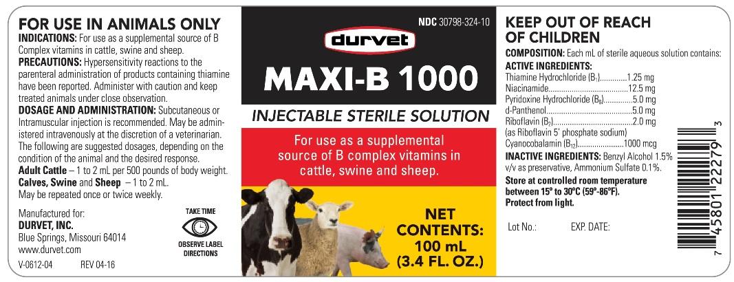 MAXI-B 1000 - Durvet, Inc : Veterinary Package Insert